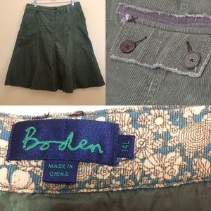 Boden Army Green Corduroy A-line Modest Skirt 10L
